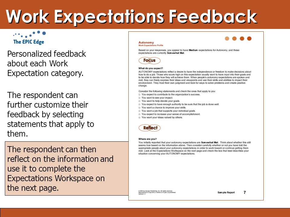 Blended Learning: Finding the Right Mix Work Expectations Feedback The respondent can then reflect on the information and use it to complete the Expec