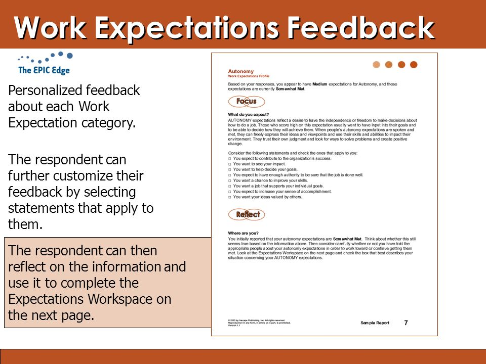 Blended Learning: Finding the Right Mix Work Expectations Feedback The respondent can then reflect on the information and use it to complete the Expectations Workspace on the next page.