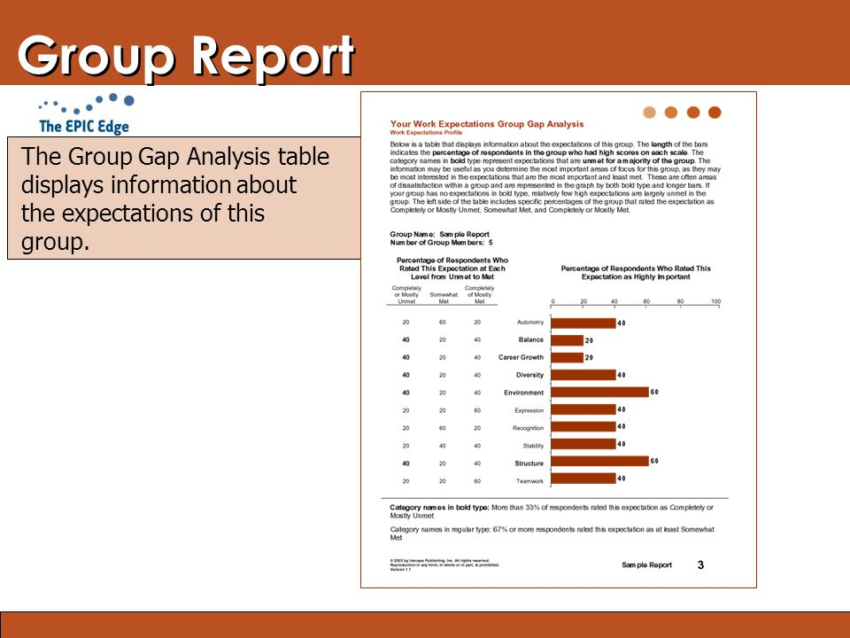 Blended Learning: Finding the Right Mix Group Report The Group Gap Analysis table displays information about the expectations of this group.