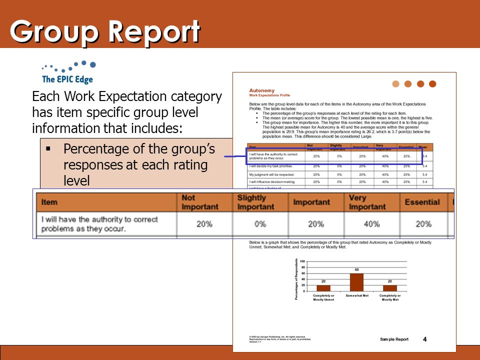Blended Learning: Finding the Right Mix Group Report Each Work Expectation category has item specific group level information that includes:  Percentage of the group's responses at each rating level