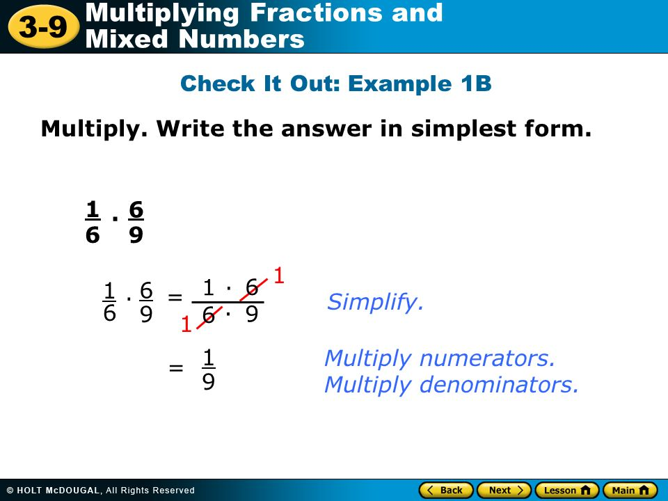 3-9 Multiplying Fractions and Mixed Numbers Warm Up Warm Up Lesson ...