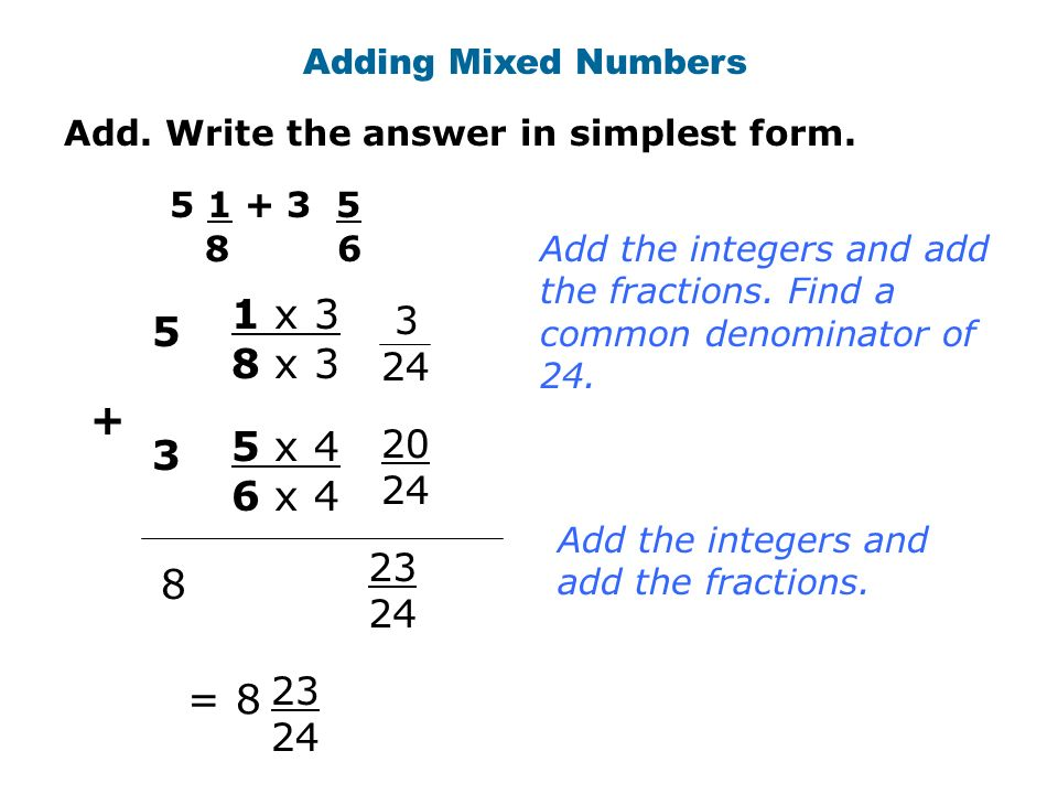 Add. Write the answer in simplest form. Adding Mixed Numbers = Add ...