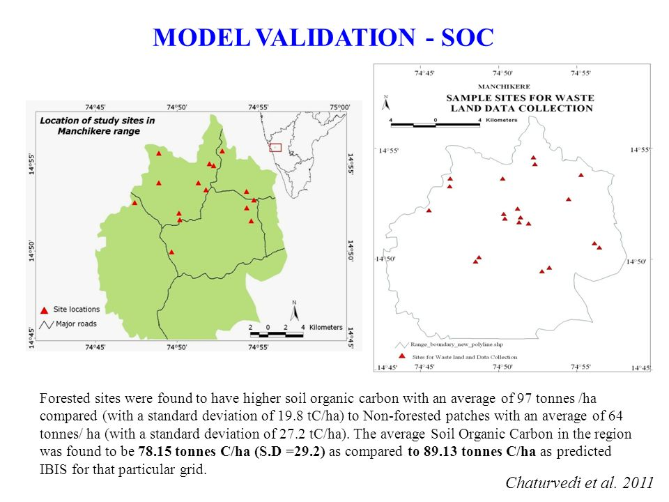 MODEL VALIDATION - SOC Forested sites were found to have higher soil organic carbon with an average of 97 tonnes /ha compared (with a standard deviation of 19.8 tC/ha) to Non-forested patches with an average of 64 tonnes/ ha (with a standard deviation of 27.2 tC/ha).