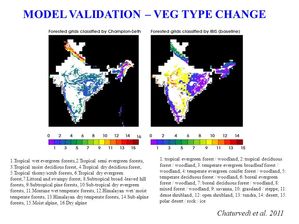 MODEL VALIDATION – VEG TYPE CHANGE 1.Tropical wet evergreen forests,2.Tropical semi evergreen forests, 3.Tropical moist decidious forest, 4.Tropical dry decidious forest, 5.Tropical thorny/scrub forests, 6.Tropical dry evergreen forest,7.Littoral and swampy forest, 8.Subtropical broad -leaved hill forests, 9.Subtropical pine forests, 10.Sub-tropical dry evergreen forests, 11.Montane wet temperate forests, 12.Himalayan wet/ moist temperate forests, 13.Himalayan dry temperate forests, 14.Sub-alpine forests, 15.Moist alpine, 16.Dry alpine 1: tropical evergreen forest / woodland, 2: tropical deciduous forest / woodland, 3.