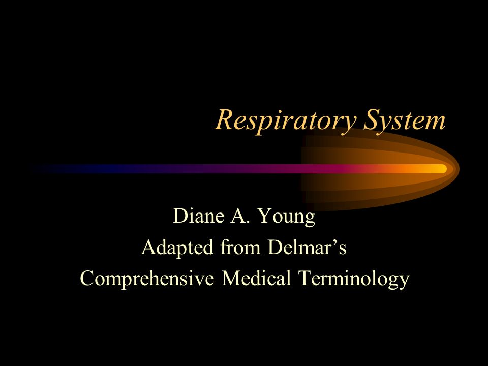 Respiratory System Diane A. Young Adapted from Delmar's Comprehensive Medical Terminology