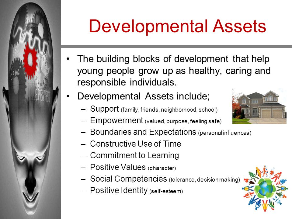 Developmental Assets The building blocks of development that help young people grow up as healthy, caring and responsible individuals. Developmental A