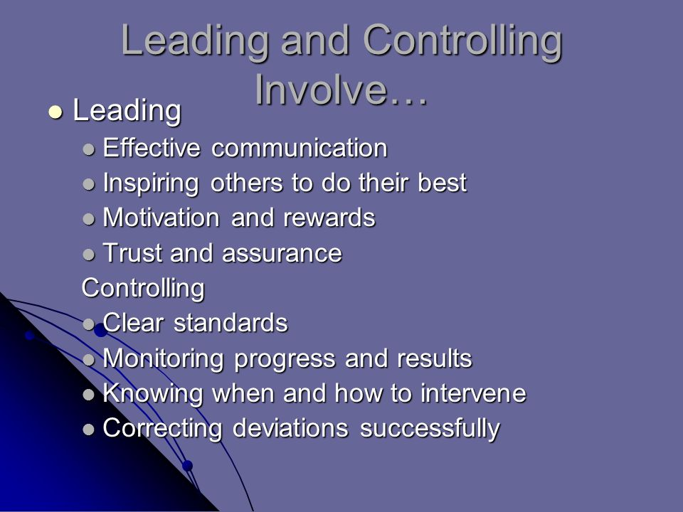 Leading and Controlling Involve… Leading Leading Effective communication Effective communication Inspiring others to do their best Inspiring others to do their best Motivation and rewards Motivation and rewards Trust and assurance Trust and assuranceControlling Clear standards Clear standards Monitoring progress and results Monitoring progress and results Knowing when and how to intervene Knowing when and how to intervene Correcting deviations successfully Correcting deviations successfully