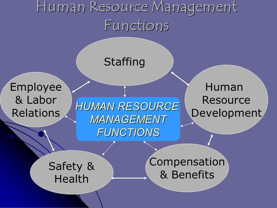 Human Resource Management Functions Staffing HUMAN RESOURCE MANAGEMENTFUNCTIONS Employee & Labor Relations Safety & Health Compensation & Benefits Human Resource Development
