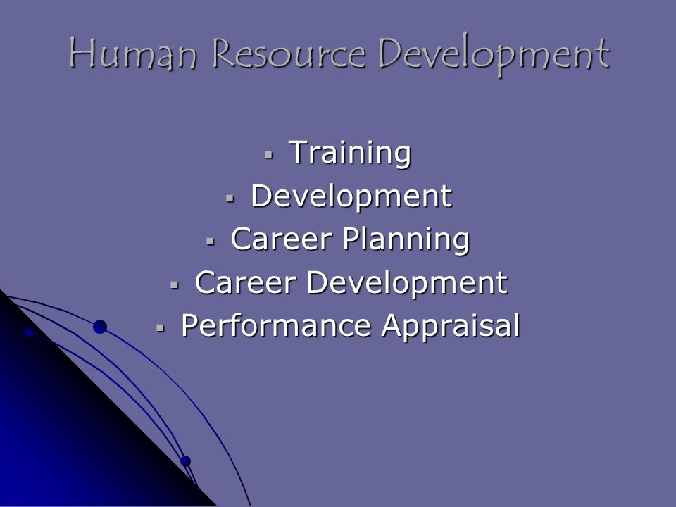 Human Resource Development  Training  Development  Career Planning  Career Development  Performance Appraisal