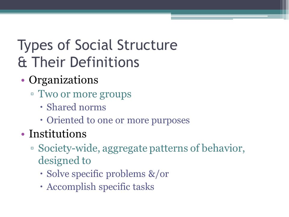 Types of Social Structure & Their Definitions Organizations ▫Two or more groups  Shared norms  Oriented to one or more purposes Institutions ▫Society-wide, aggregate patterns of behavior, designed to  Solve specific problems &/or  Accomplish specific tasks