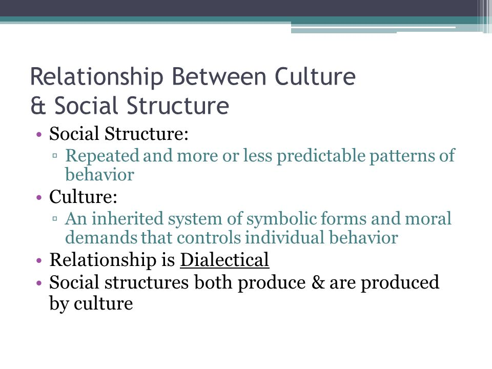 Relationship Between Culture & Social Structure Social Structure: ▫Repeated and more or less predictable patterns of behavior Culture: ▫An inherited system of symbolic forms and moral demands that controls individual behavior Relationship is Dialectical Social structures both produce & are produced by culture