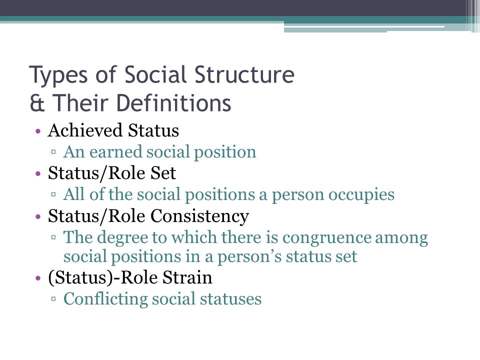 Types of Social Structure & Their Definitions Achieved Status ▫An earned social position Status/Role Set ▫All of the social positions a person occupies Status/Role Consistency ▫The degree to which there is congruence among social positions in a person's status set (Status)-Role Strain ▫Conflicting social statuses
