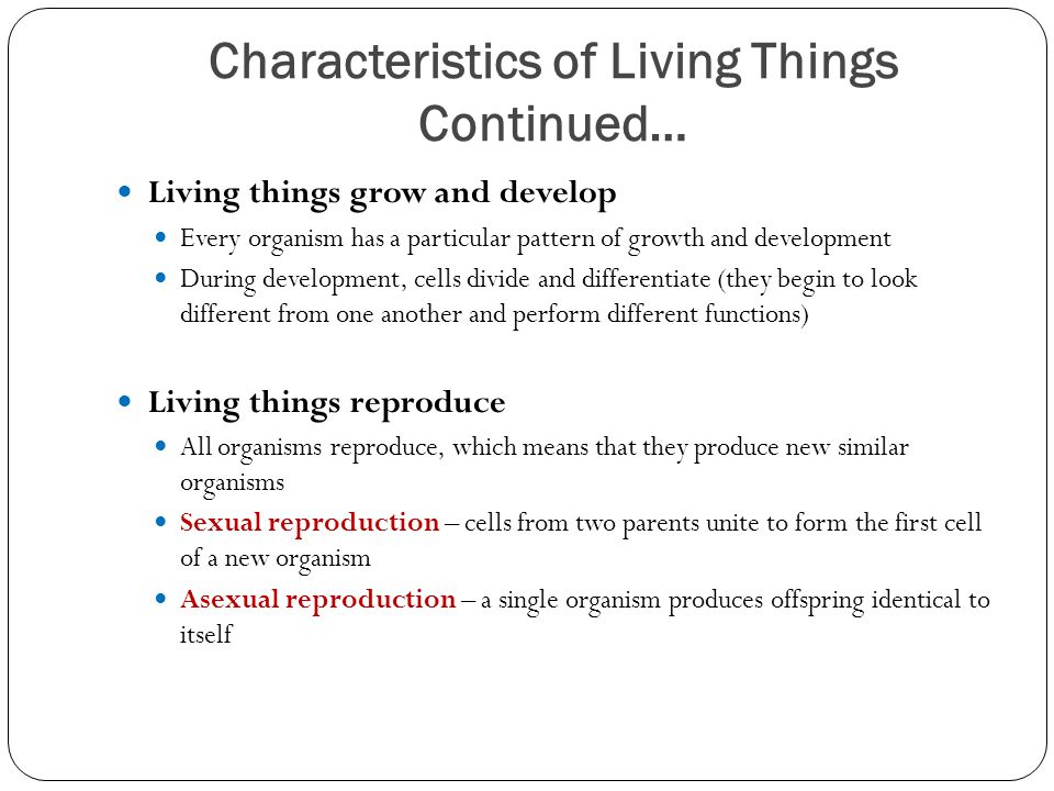 Characteristics of Living Things Continued… Living things grow and develop Every organism has a particular pattern of growth and development During development, cells divide and differentiate (they begin to look different from one another and perform different functions) Living things reproduce All organisms reproduce, which means that they produce new similar organisms Sexual reproduction – cells from two parents unite to form the first cell of a new organism Asexual reproduction – a single organism produces offspring identical to itself
