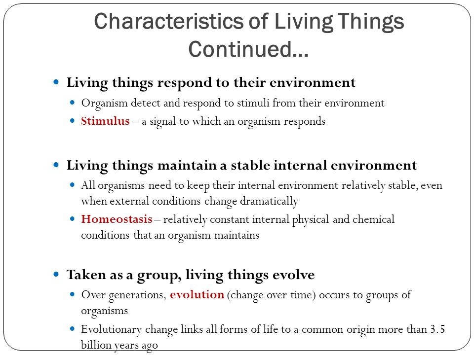 Characteristics of Living Things Continued… Living things respond to their environment Organism detect and respond to stimuli from their environment Stimulus – a signal to which an organism responds Living things maintain a stable internal environment All organisms need to keep their internal environment relatively stable, even when external conditions change dramatically Homeostasis – relatively constant internal physical and chemical conditions that an organism maintains Taken as a group, living things evolve Over generations, evolution (change over time) occurs to groups of organisms Evolutionary change links all forms of life to a common origin more than 3.5 billion years ago