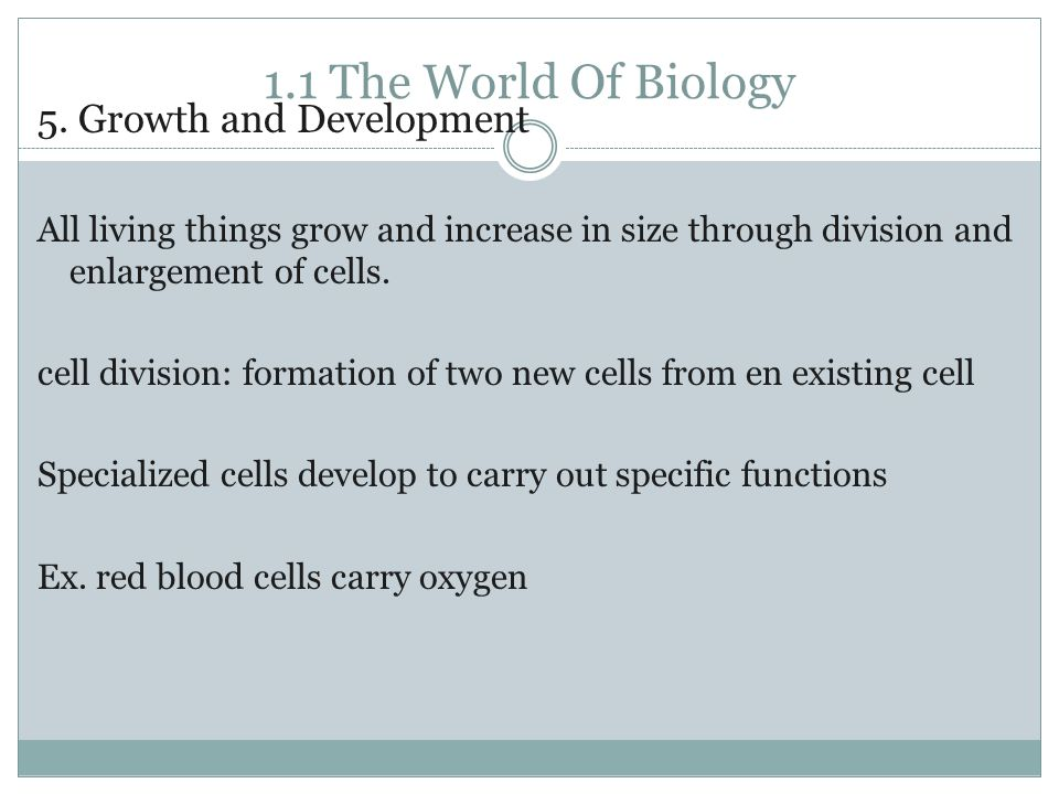 1.1 The World Of Biology 5.
