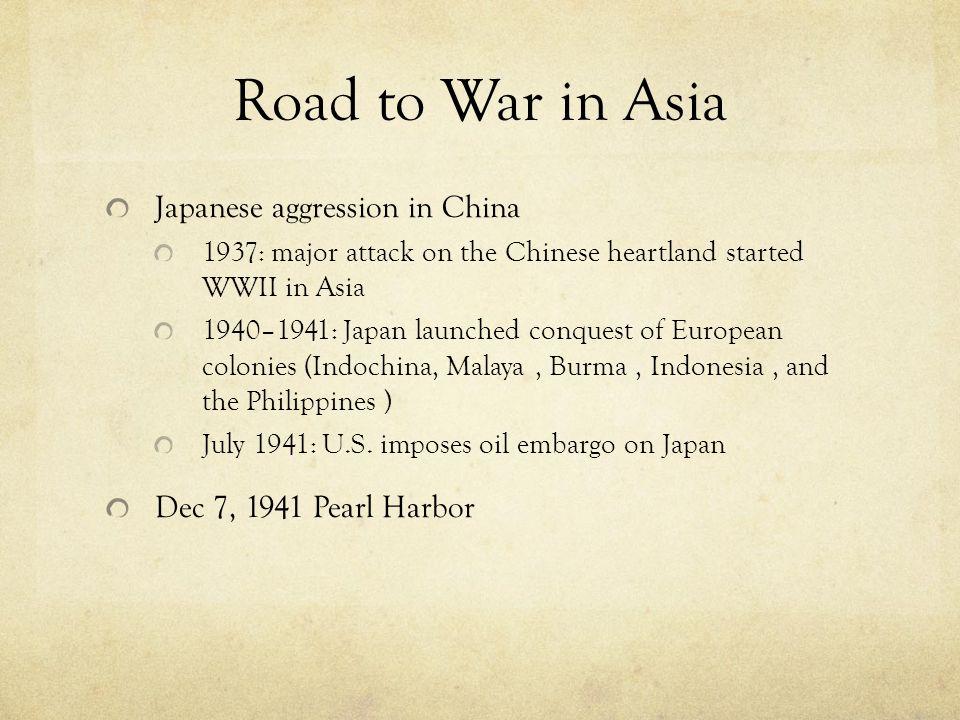 World War II Mr. Owen AP World Spring Road to War in Asia Japanese ...