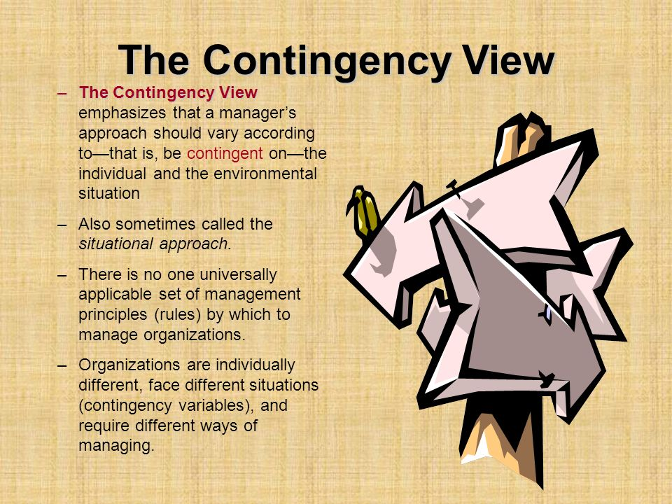 The Contingency View –The Contingency View –The Contingency View emphasizes that a manager's approach should vary according to—that is, be contingent