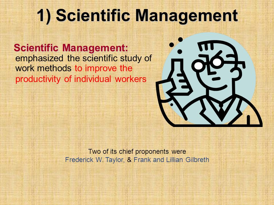 1) Scientific Management Scientific Management: Scientific Management: emphasized the scientific study of work methods to improve the productivity of