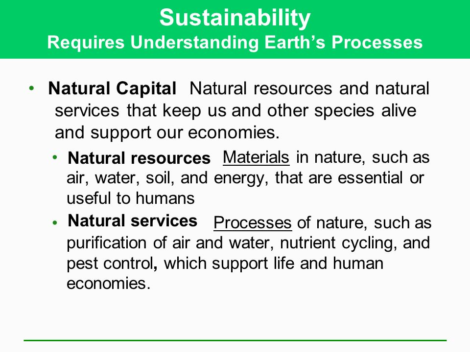 Sustainability Requires Understanding Earth's Processes Natural resources and natural services that keep us and other species alive and support our economies.