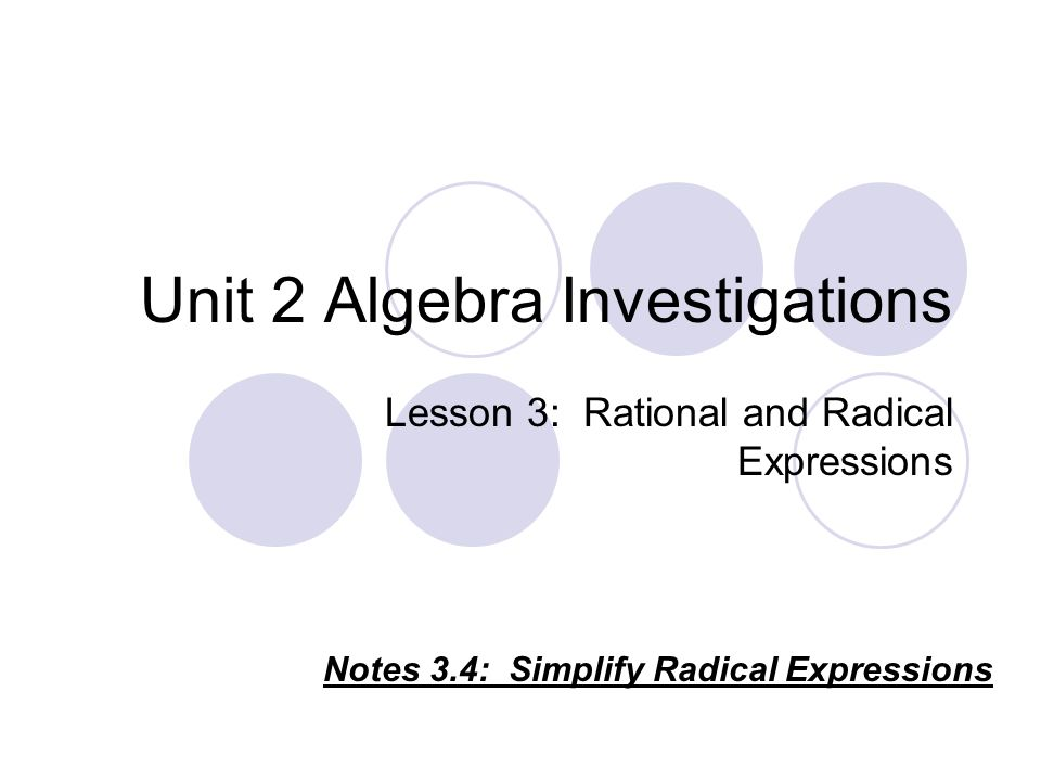 Unit 2 Algebra Investigations Lesson 3 Rational and Radical – Simplifying Radical Expressions Worksheet Algebra 2