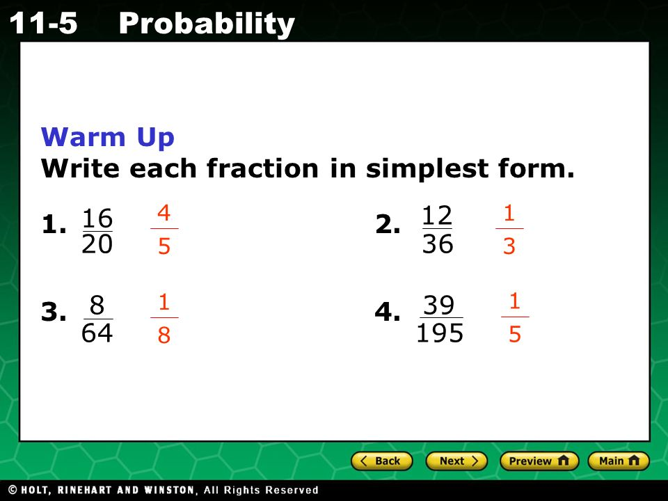Holt CA Course Probability Warm Up Warm Up California Standards ...