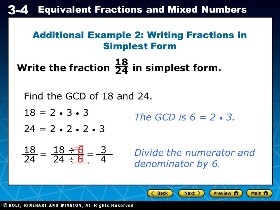 Holt CA Course Equivalent Fractions and Mixed Numbers Vocabulary ...