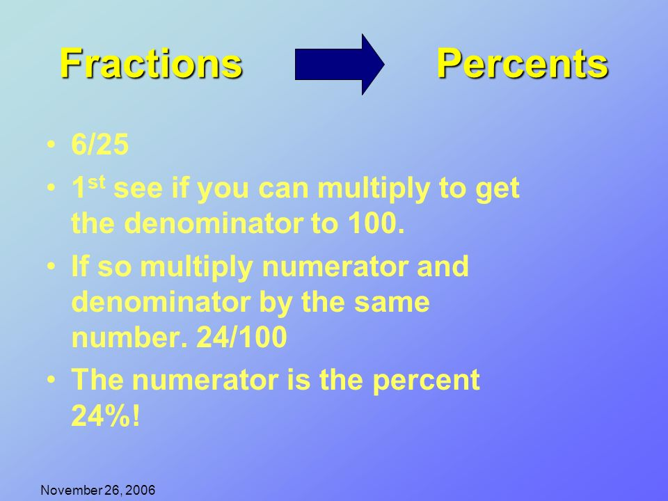 November 26, 2006 An introduction to fraction, decimal, and ...