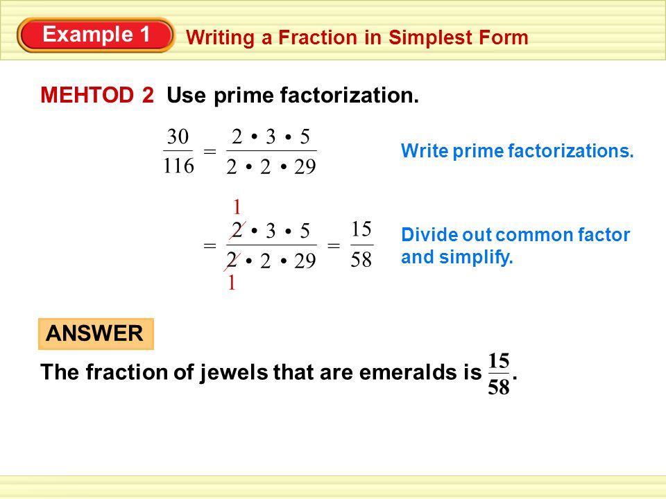 Example 1 Writing a Fraction in Simplest Form One of the Czech ...