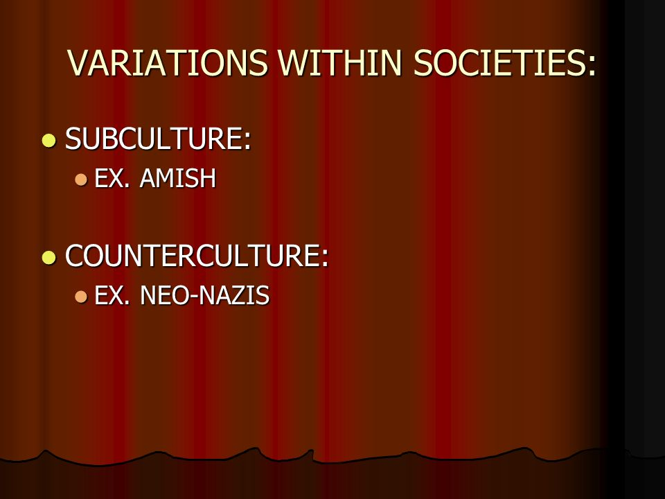 section cultural variation what do we have in common george  variations in societies subculture subculture ex