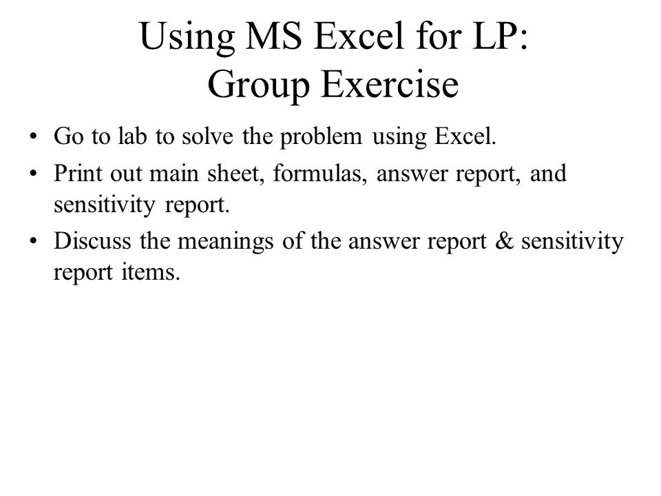 Reading Worksheets Middle School Word  Linear Programming  Sensitivity Analysis Review Lp  Hebrew Letter Worksheets Word with First Grade Morning Work Worksheets Excel Using Ms Excel For Lp Group Exercise Go To Lab To Solve The Problem Using Addition To 5 Worksheets Excel