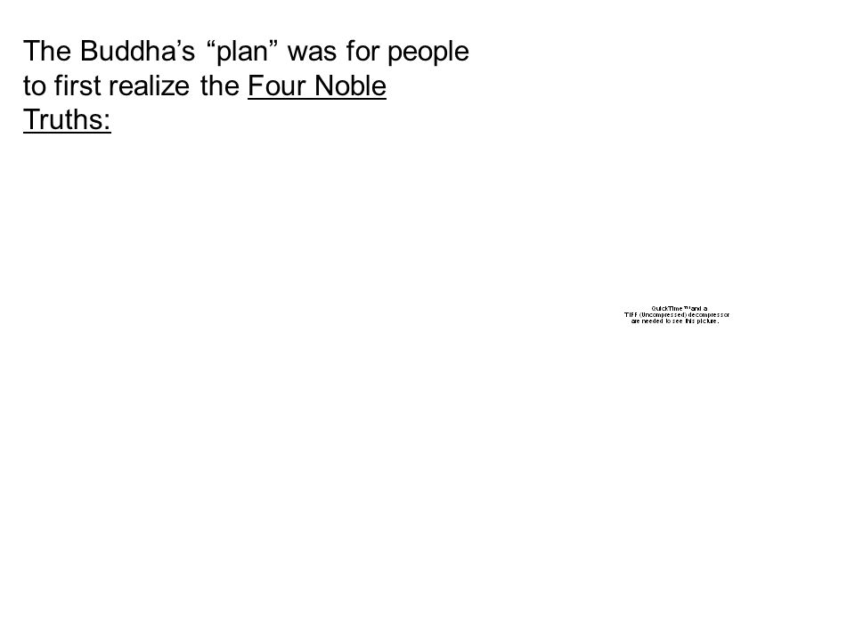 The Buddha's plan was for people to first realize the Four Noble Truths:
