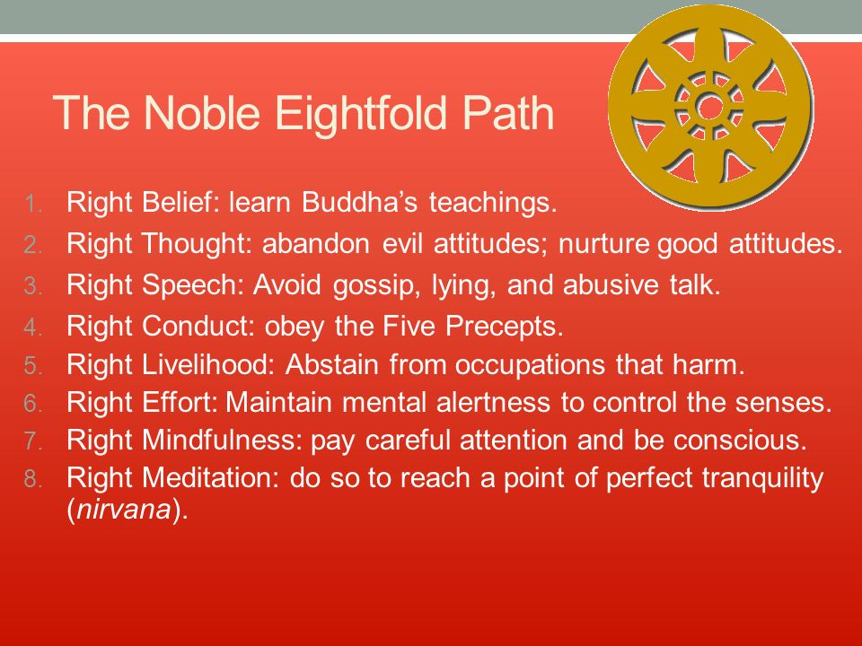 The Noble Eightfold Path 1. Right Belief: learn Buddha's teachings.