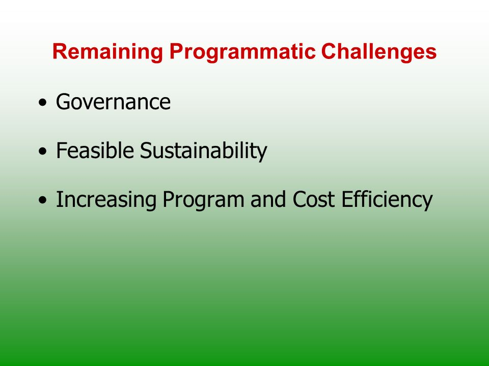 Remaining Programmatic Challenges Governance Feasible Sustainability Increasing Program and Cost Efficiency
