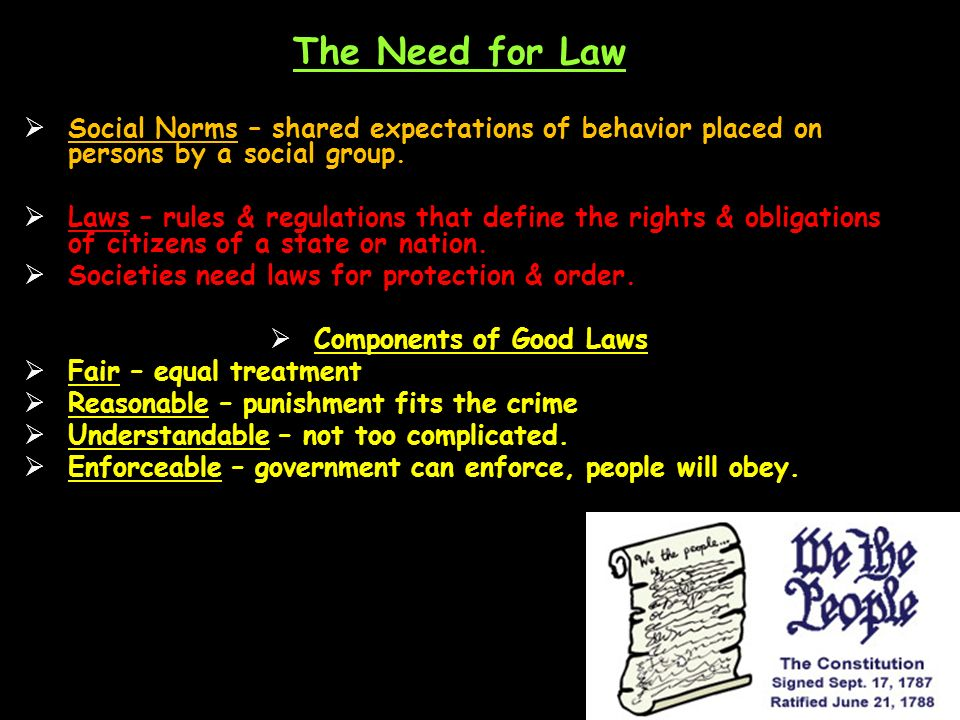 The Need for Law  Social Norms – shared expectations of behavior placed on persons by a social group.