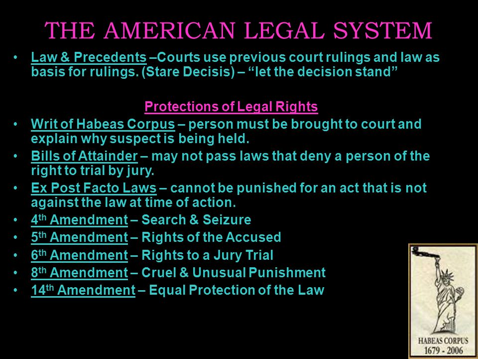 THE AMERICAN LEGAL SYSTEM Law & Precedents –Courts use previous court rulings and law as basis for rulings.