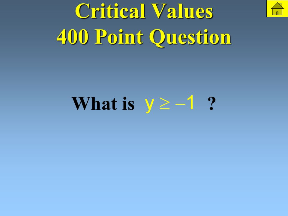 Critical Values 400 Points Find the range. The Question