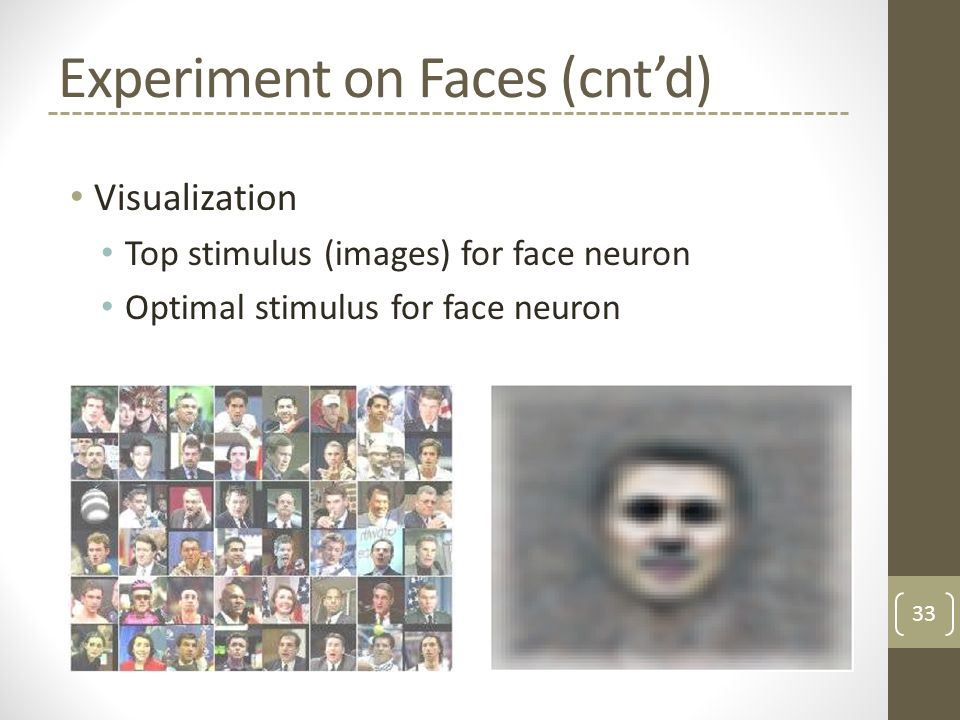 Experiment on Faces (cnt'd) Visualization Top stimulus (images) for face neuron Optimal stimulus for face neuron 33