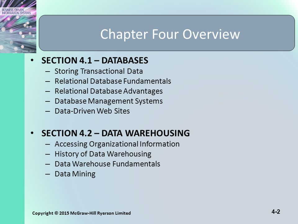 4-2 Copyright © 2015 McGraw-Hill Ryerson Limited Chapter Four Overview SECTION 4.1 – DATABASES – Storing Transactional Data – Relational Database Fund