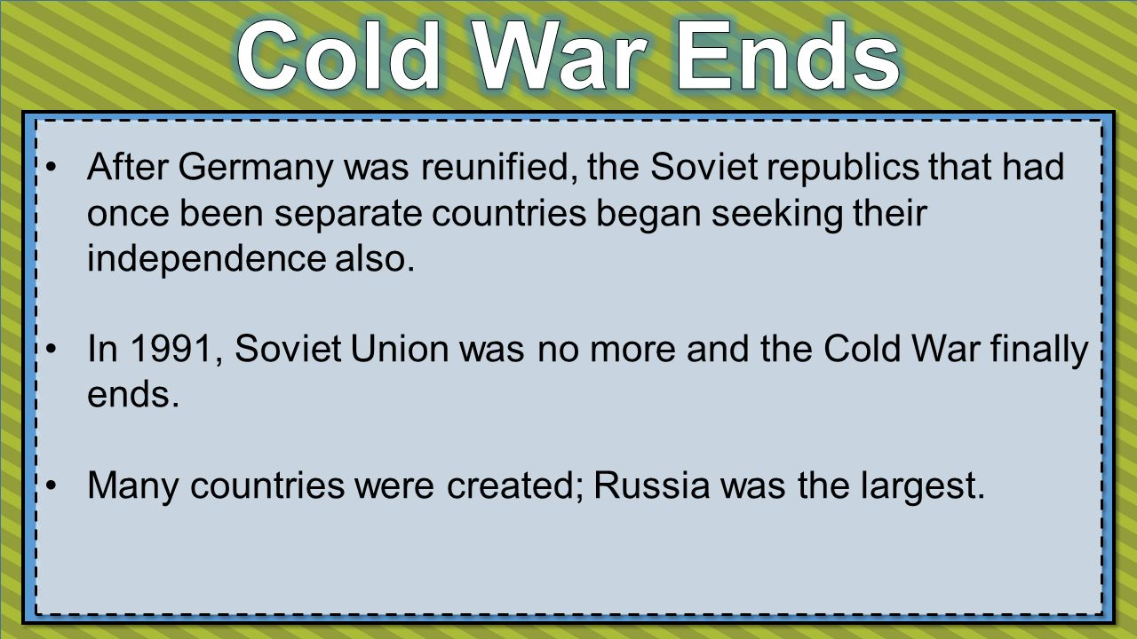 After Germany was reunified, the Soviet republics that had once been separate countries began seeking their independence also.