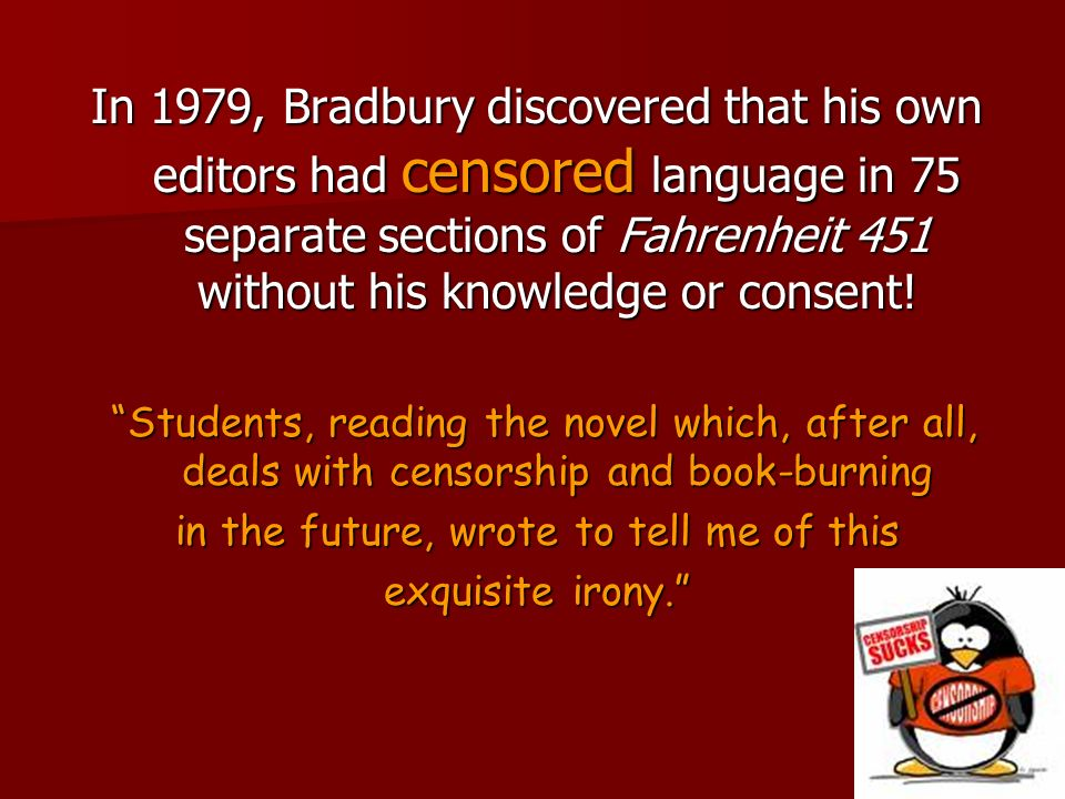 fahrenheit 451 a censored and structured Fahrenheit 451: a censored and structured world essays: over 180,000 fahrenheit 451: a censored and structured world essays, fahrenheit 451: a censored and structured world term papers, fahrenheit 451: a censored and structured world research paper, book reports 184 990 essays, term and research papers available for unlimited.