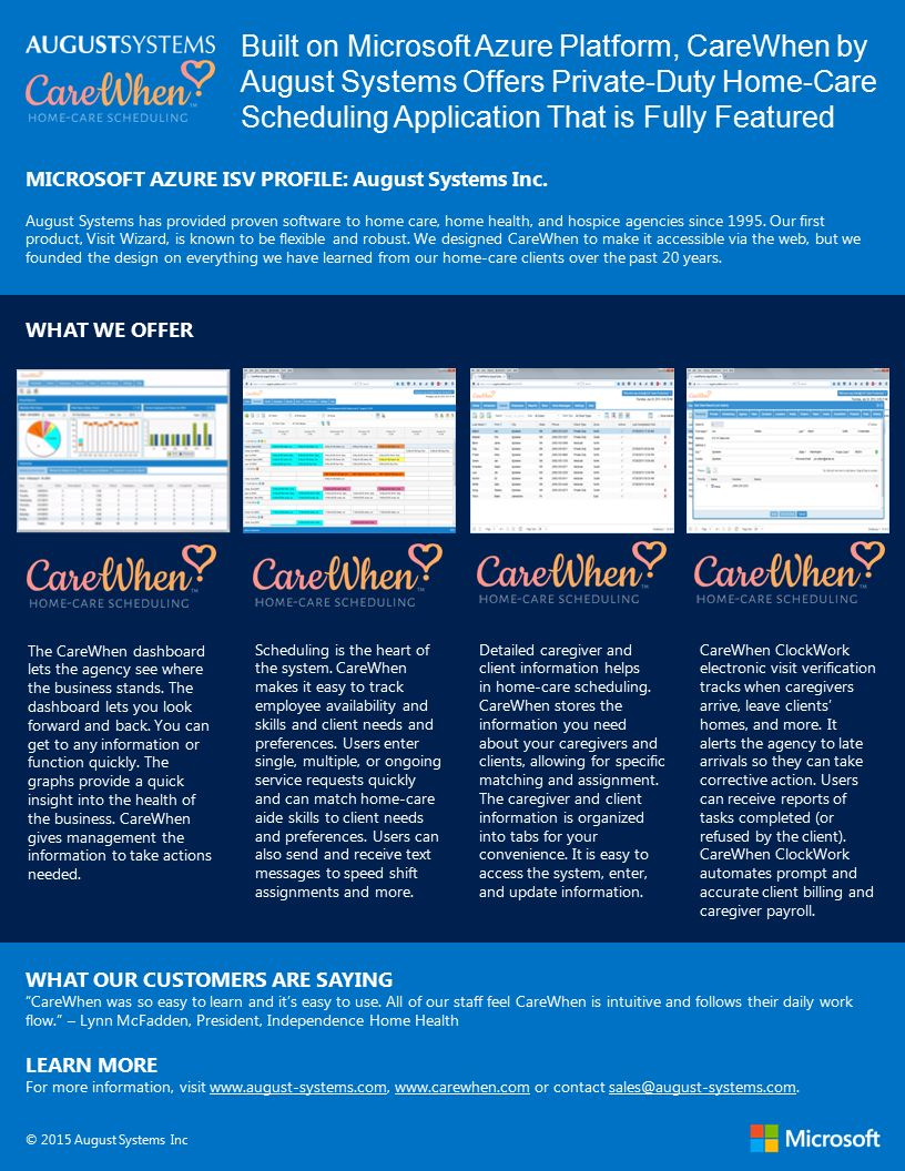 Built on Microsoft Azure Platform, CareWhen by August Systems Offers Private-Duty Home-Care Scheduling Application That is Fully Featured MICROSOFT AZURE ISV PROFILE: August Systems Inc.