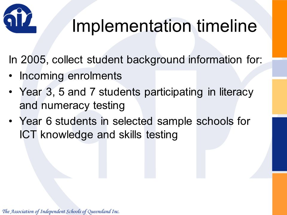 ... Participating In Literacy And Numeracy Testing Year 6 Students In  Selected Sample Schools For ICT Knowledge And Skills Testing Implementation  Timeline