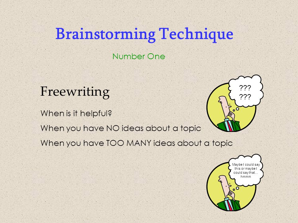brainstorming brainstorming the key to successful essay writing  5 brainstorming technique number one writing options write for a specific time period write for a specific amount of paper