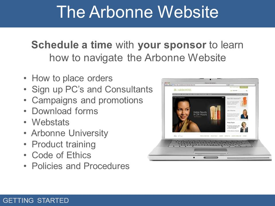 To navigate the arbonne website how to place orders sign up pc s an