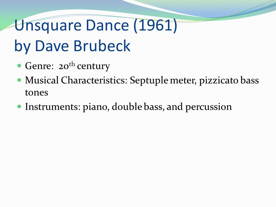 rythme sur unsquare dance brubeck