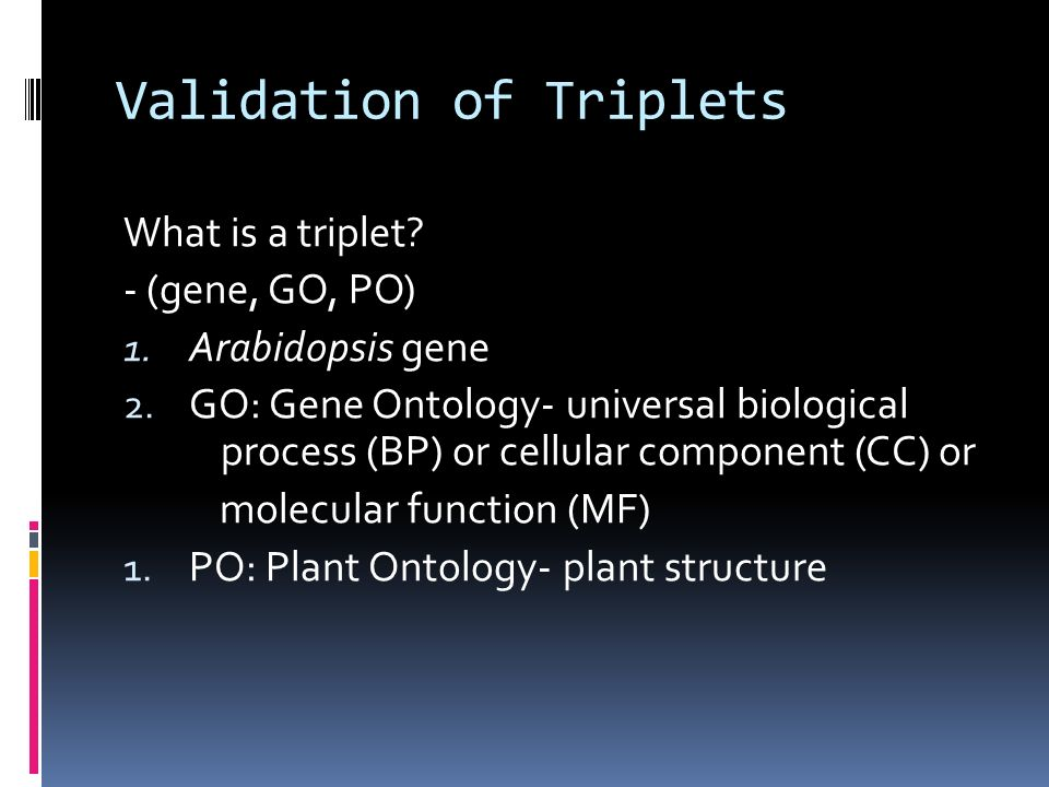 Validation of Triplets What is a triplet. - (gene, GO, PO) 1.