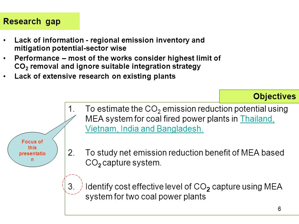 6 Research gap Lack of information - regional emission inventory and mitigation potential-sector wise Performance – most of the works consider highest limit of CO 2 removal and ignore suitable integration strategy Lack of extensive research on existing plants 1.To estimate the CO 2 emission reduction potential using MEA system for coal fired power plants in Thailand, Vietnam, India and Bangladesh.Thailand, Vietnam, India and Bangladesh.