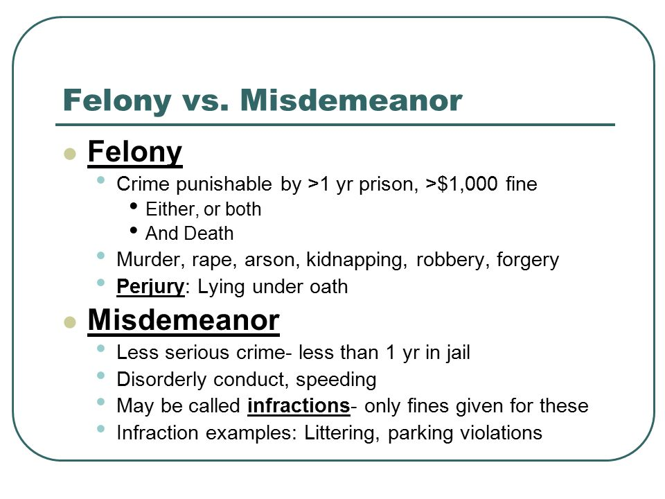 Felony vs.