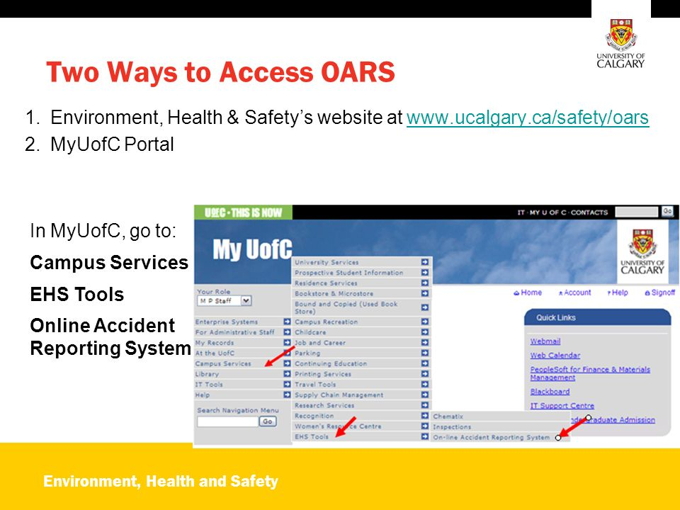 Environment, Health and Safety OARS Online Accident Reporting System ...