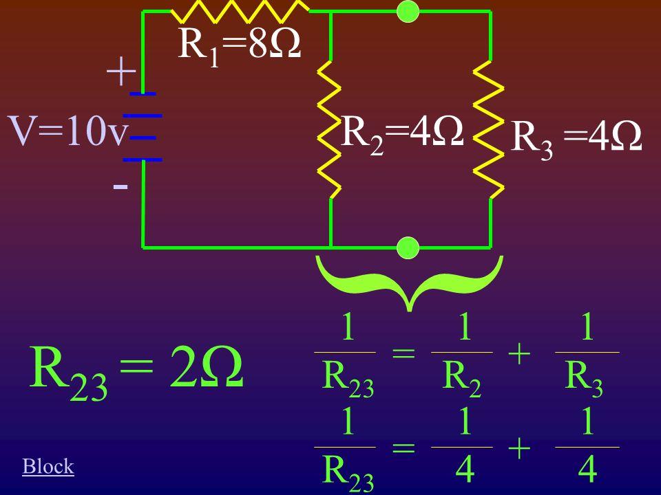 } 1 R 23 1R21R2 1R31R3 =+ 1 R 23 1414 1414 =+ R 23 = 2Ω + - V=10v R 3 =4Ω R 1 =8Ω R 2 =4Ω Block